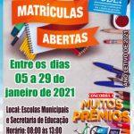 Matrículas da rede municipal de ensino de Bernardino Batista começaram dia 5 de janeiro